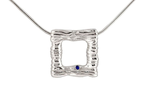Square Silver Pendant Necklace: Water Necklace With Blue Sapphire Tranqulity series All Necklaces