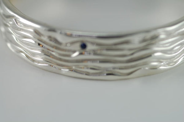 Sterling Silver Bangle Bracelet With Six Small Blue Sapphires - Fine Jewelry by Anastasia Savenko