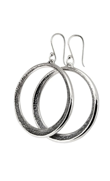 Sterling Silver Dangle Hoop Earrings: 1.5 Inch Hammered Hoops Oxidized Assyrian Series All Earrings