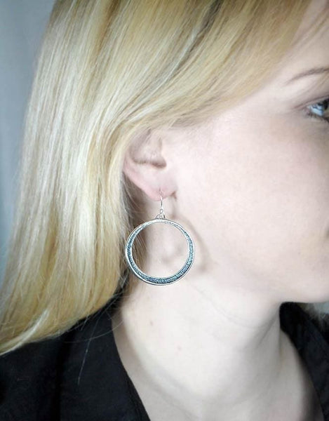Sterling Silver Dangle Hoop Earrings: 1.5 Inch Hammered Hoops Oxidized - Fine Jewelry by Anastasia Savenko