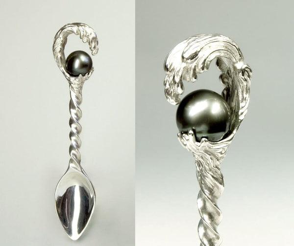 Sterling Silver Spoon with Pearl, Silver Baby Spoon - Fine Jewelry by Anastasia Savenko