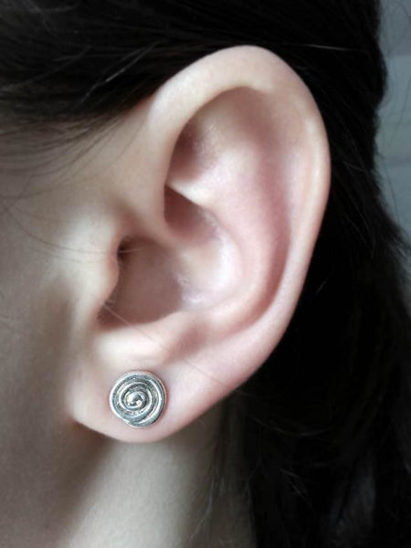 Sterling Silver Swirl Stud Earrings - Fine Jewelry by Anastasia Savenko