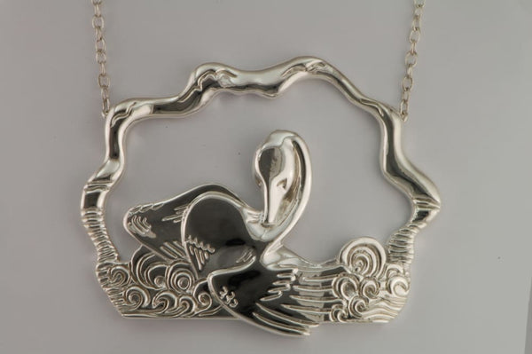 Swan Necklace: Large sterling silver pendant with long chain - Fine Jewelry by Anastasia Savenko