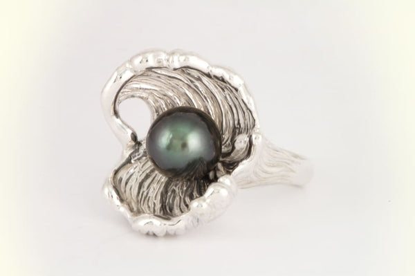 Tahitian Pearl ring: sterling silver wave ring with unique design - Fine Jewelry by Anastasia Savenko