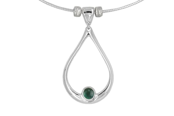 Water drop necklace: blue green tourmaline pendant, sterling silver - Fine Jewelry by Anastasia Savenko