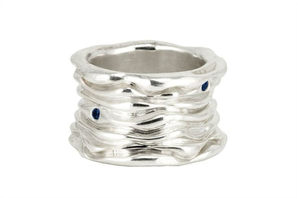 Wave Ring: Sterling Silver Wide Ring with three blue sapphires