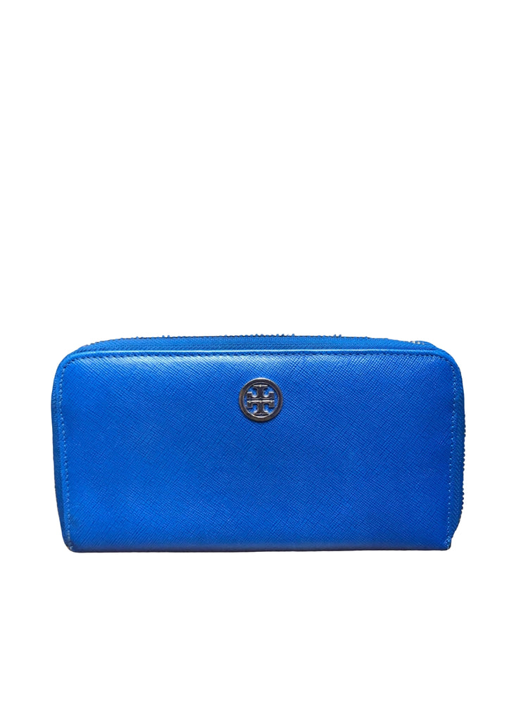 Tory Burch Robinson Zip Continental Wallet Cobalt Blue
