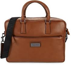 Valentino Men's Tobacco Briefcase NWT