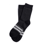 Black and Grey Striped Groomsmen Socks with Personalized Labels