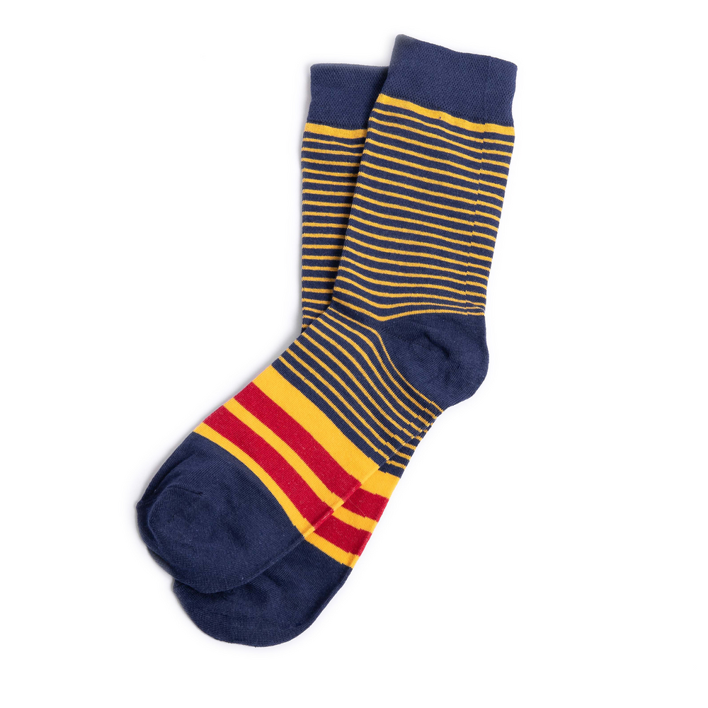 Blue and Yellow Striped Groomsmen Socks with Personalized Labels