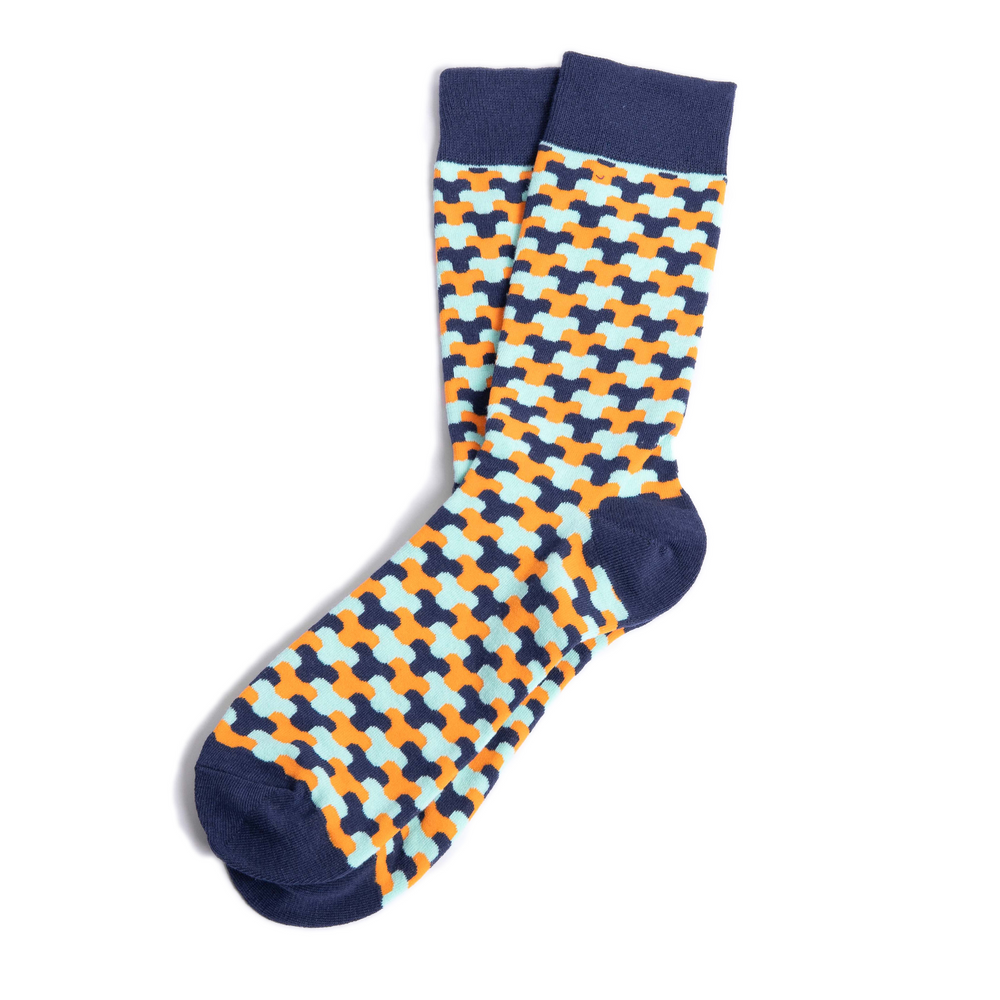 Blue and Orange Funky Groomsmen Socks with Personalized Labels