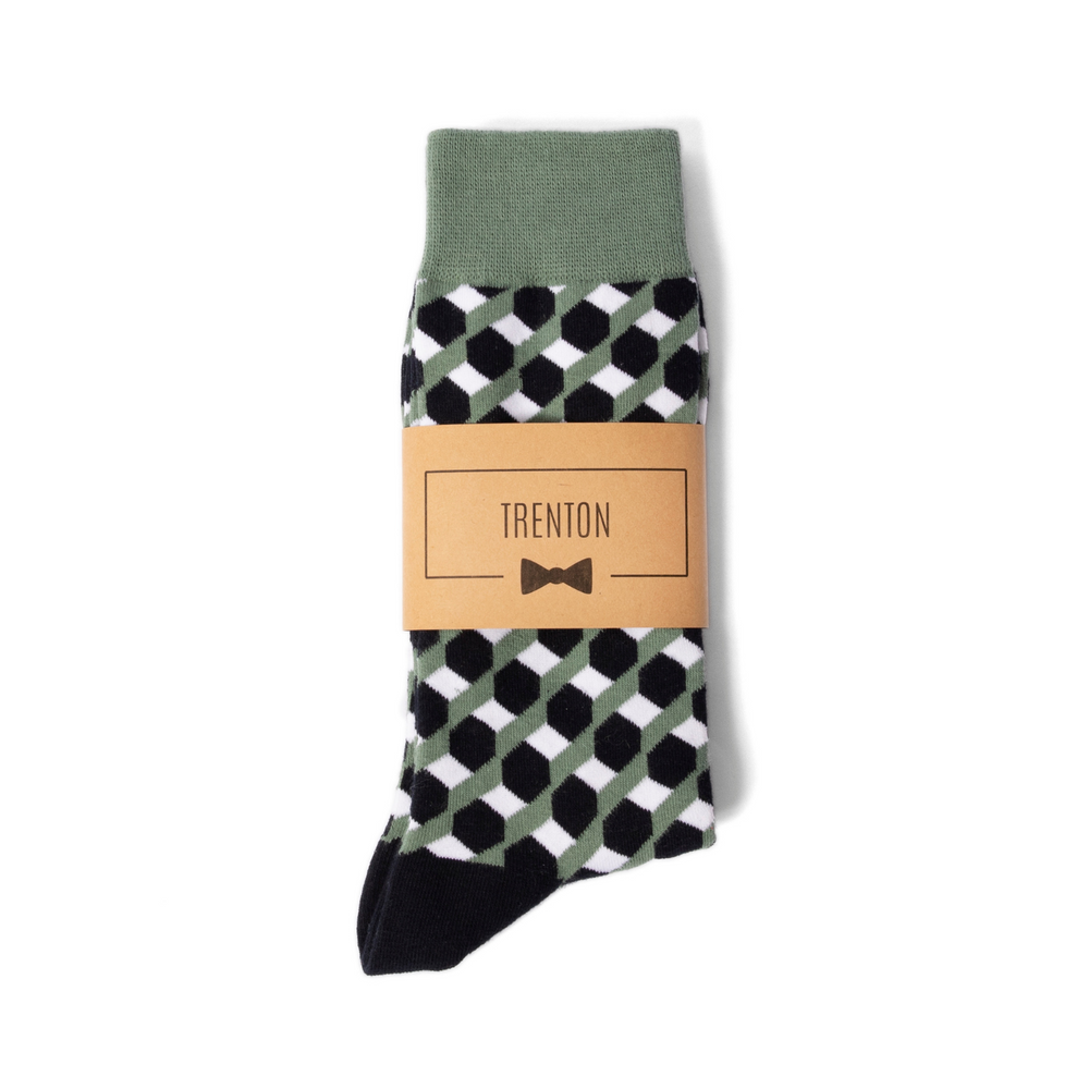 Green and Dark Navy Funky Groomsmen Socks with Personalized Label