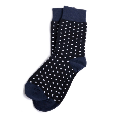 Navy Polka Dot Groomsmen Socks by Groomsman Gear