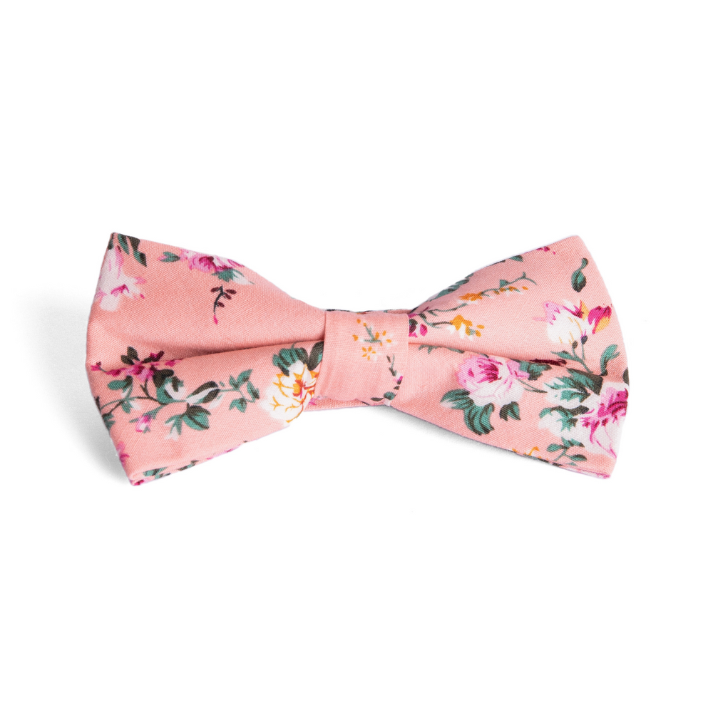 Pink Floral Bow Tie for Groomsmen