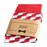 Red White and Blue Funky Groomsmen Socks with Labels