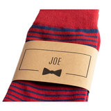 Red and Blue Striped Groomsmen Socks with Personalized Labels