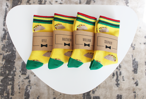 Fun Taco Groomsmen Socks with Personalized Labels