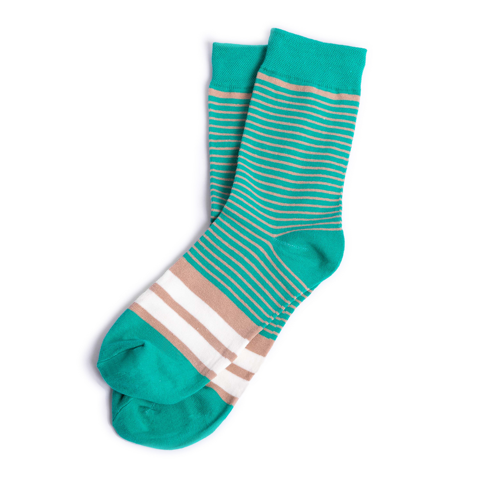 Turquoise Striped Groomsmen Socks with Personalized Labels
