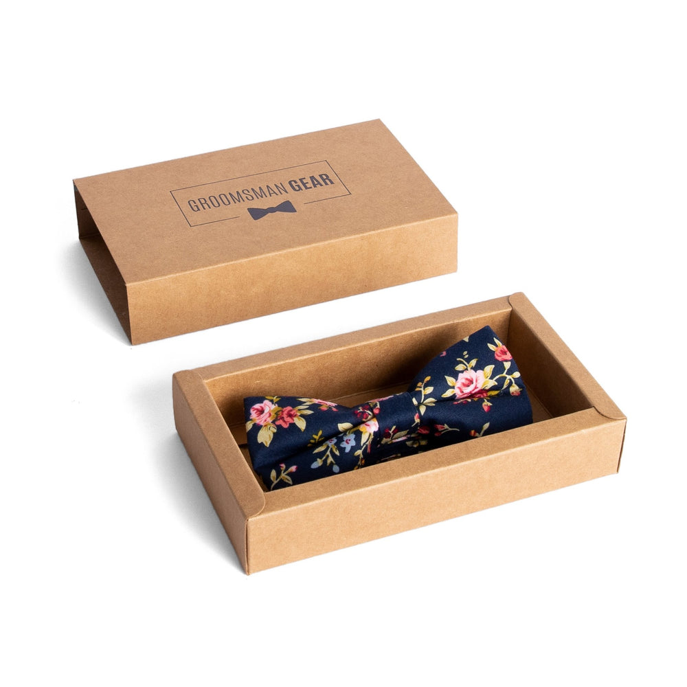 Navy Floral Bow Tie for Groomsmen