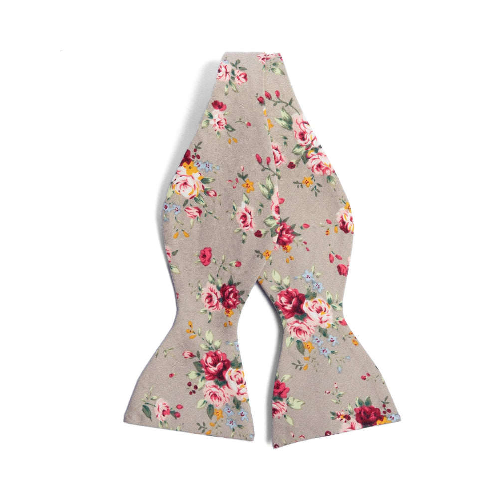 Grey Floral Bow Tie for Groomsmen