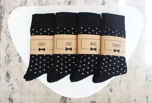 Black Polka Dot Groomsmen Socks