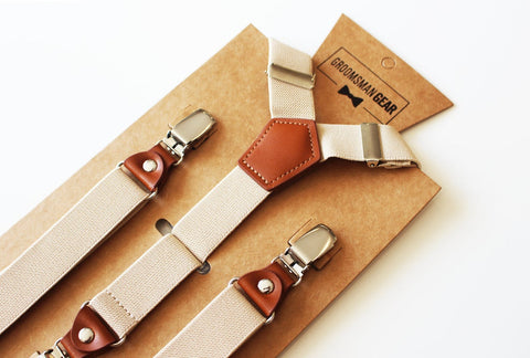 Men's Light Tan Khaki Suspenders