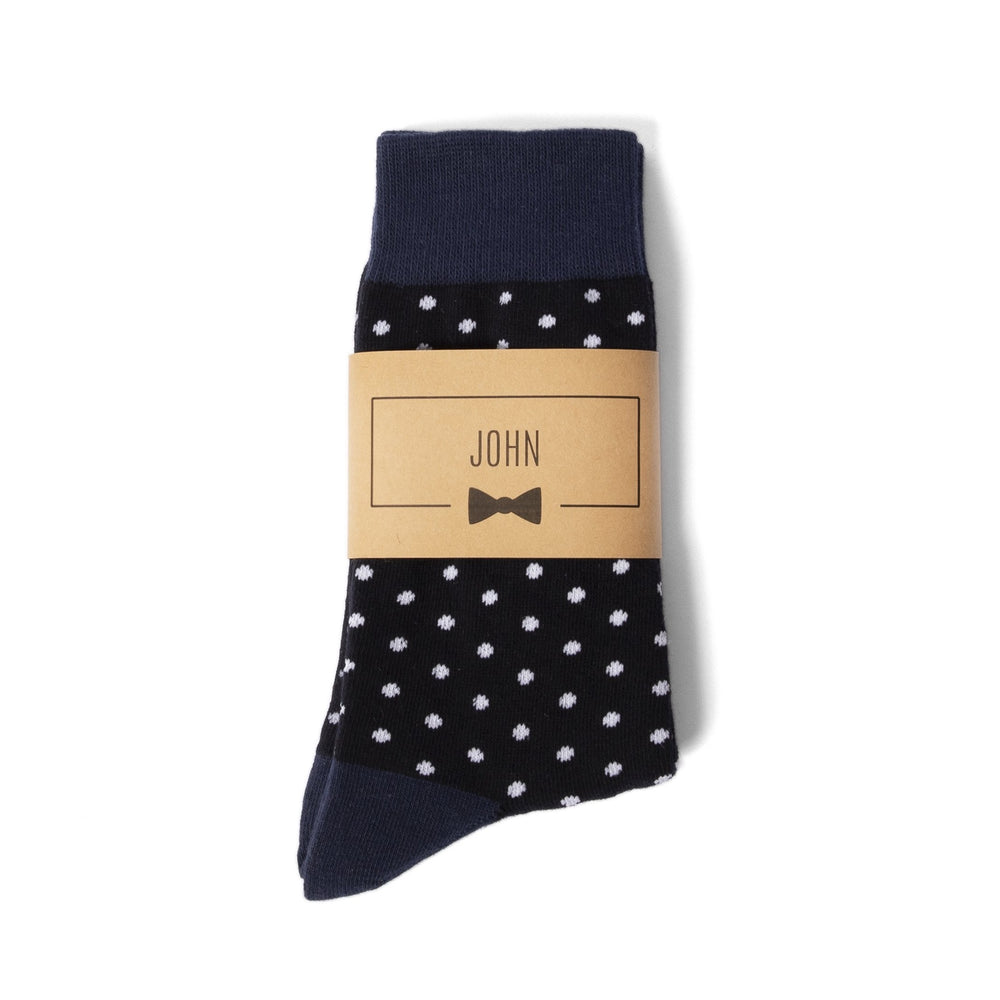 Navy Polka Dot Groomsmen Socks with Personalized Labels by Groomsman Gear