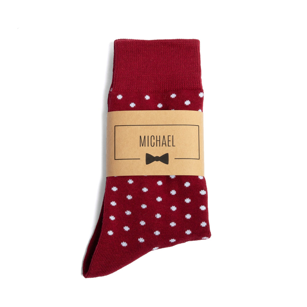 Burgundy Polka Dot Groomsmen Socks