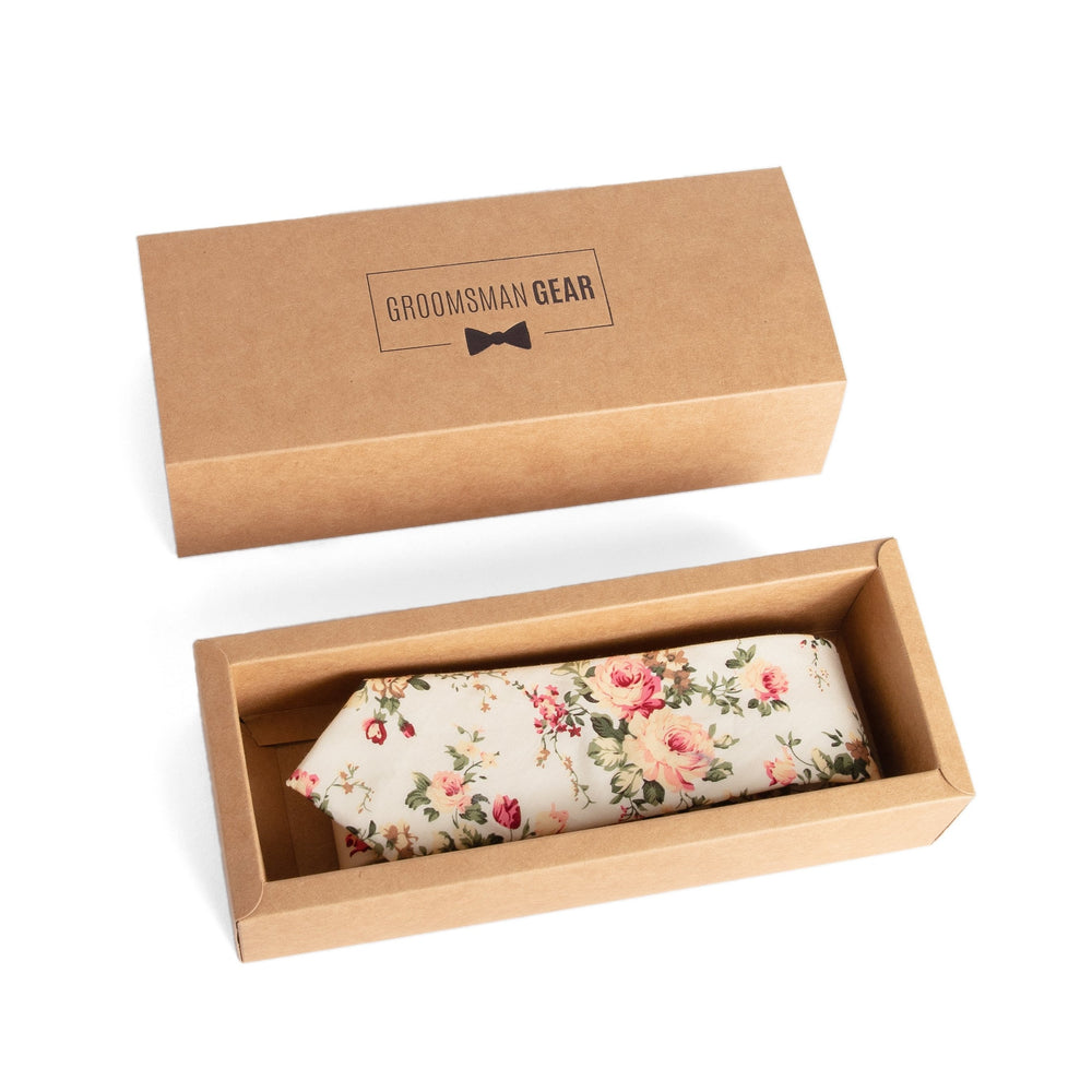 Cream Floral Skinny Tie for Groomsmen