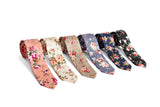 Cream Floral Skinny Tie + Gift Box