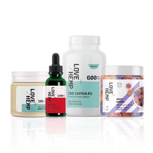 Love Hemp CBD Happy Holidays Box - 1,200mg CBD Oil, 600mg CBD Capsules, 300mg CBD Body Salve & 600mg Jelly Domes