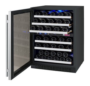 "24"" Wide FlexCount Series 56 Bottle Dual Zone Stainless Steel Left Hinge Wine Refrigerator (VSWR56-2SSLN) - Bennet Hill"