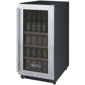 "FlexCount Series 15"" Wide Beverage Center - Black Cabinet with Stainless Steel Door - Right Hinge ( VSBC15-SSRN) - Bennet Hill"