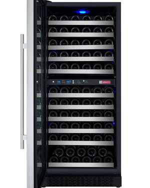 "24"" Wide FlexCount Series 121 Bottle Dual Zone Stainless Steel Left Hinge Wine Refrigerator (VSWR121-2SSLN) - Bennet Hill"