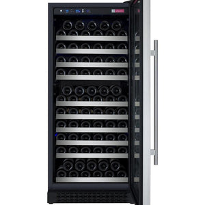 "24"" Wide FlexCount Series 128 Bottle Single Zone Stainless Steel Right Hinge Wine Refrigerator - Bennet Hill"