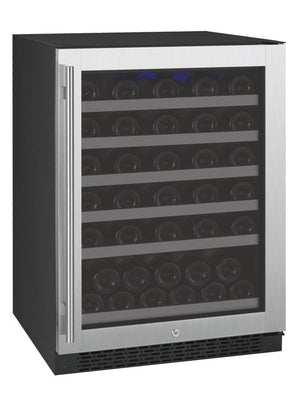 "24"" Wide FlexCount Series 56 Bottle Dual Zone Black Right Hinge Wine Refrigerator ( VSWR56-1SSRN) - Bennet Hill"
