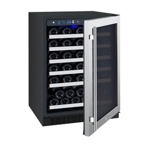 "24"" Wide FlexCount Series 56 Bottle Single Zone Stainless Steel Right Hinge Wine Refrigerator(AO  VSWR56-1SSRN) - Bennet Hill"
