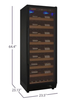 "32"" Wide Vite Series 305 Bottle Single Zone Black Left Hinge Wine Refrigerator (YHWR305-1BLT) - Bennet Hill"