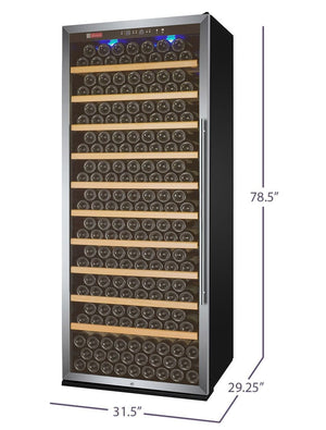 "32"" Wide Vite Series 305 Bottle Single Zone Stainless Steel Left Hinge Wine Refrigerator (  YHWR305-1SLT) - Bennet Hill"