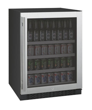 "FlexCount Series 24"" Wide Beverage Center - Black Cabinet with Stainless Steel Door - Right Hinge (VSBC24-SSRN) - Bennet Hill"