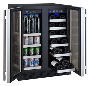 "24"" Wide FlexCount Series 18 Bottle/66 Cans Dual Zone Stainless Steel Wine Refrigerator/Beverage Center (VSWB-2SSFN) - Bennet Hill"