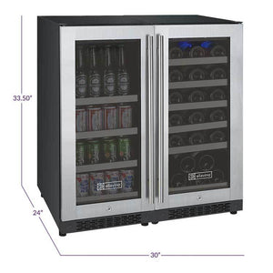 "30"" Wide FlexCount Series 30 Bottle/88 Can Dual Zone Stainless Steel Built-In Wine Refrigerator/Beverage Center (VSWB30-2SSFN ) - Bennet Hill"