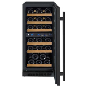 "15"" Wide FlexCount Series 30 Bottle Dual Zone Black Wine Refrigerator (VSWR30-2SSRN) - Bennet Hill"