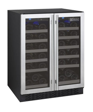 "24"" Wide FlexCount Series 36 Bottle Dual Zone Stainless Steel Wine Refrigerator - Bennet Hill"