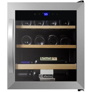 "17"" Wide Cascina Series 12 Bottle Single Zone Stainless Steel Wine Refrigerator (CDWR15-1SWT) - Bennet Hill"