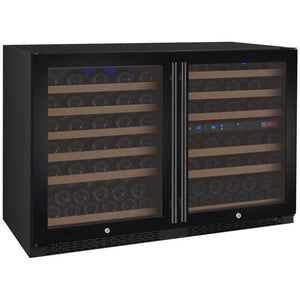"47"" Wide FlexCount Series 112 Bottle Three Zone Black Side-by-Side Wine Refrigerator(BF  3Z-VSWR5656-BWT) - Bennet Hill"