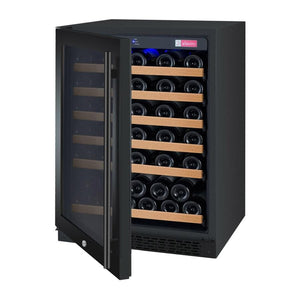 "24"" Wide FlexCount Series 56 Bottle Dual Zone Black Left Hinge Wine Refrigerator (VSWR56-2BWLN) - Bennet Hill"