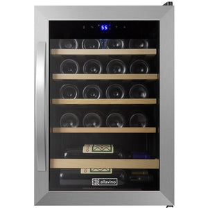 "17"" Wide Cascina Series 21 Bottle Single Zone Stainless Steel Wine Refrigerator (CDWR19-1SWT) - Bennet Hill"