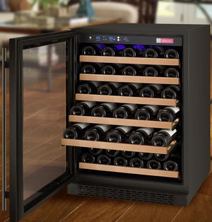 "24"" Wide FlexCount Series 56 Bottle Single Zone Black Left Hinge Wine Refrigerator - Bennet Hill"