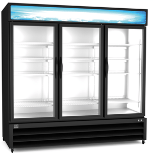 Kelvinator Refrigeration Equipment Merchandiser Refrigerator, 72 cu.ft - 3 Glass Door, black (R290) - Bennet Hill